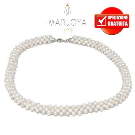 Collana spirale in perle naturali d'acqua dolce e argento 925 rodiato