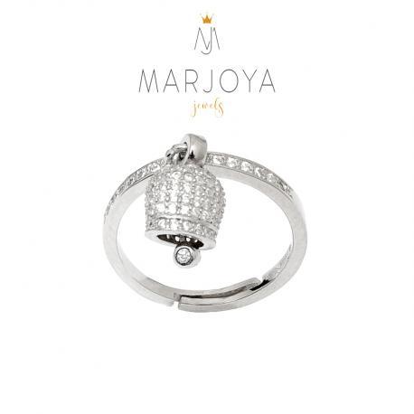 Anello con campanella charms tempestata di zirconi in argento 925,regolabile