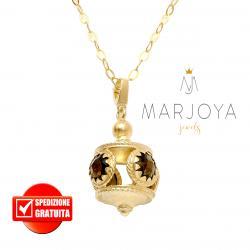 Collana lunga con charms e quarzo nero fumè in argento dorato,70 cm