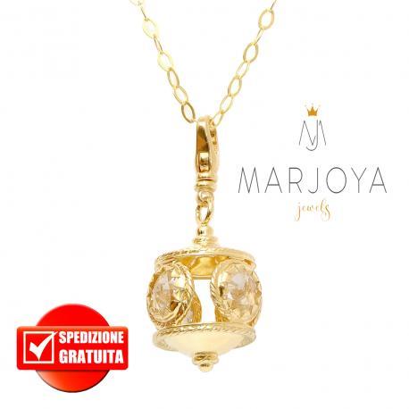 Collana con charms lanterna pendente e quarzo bianco in argento 925 dorato