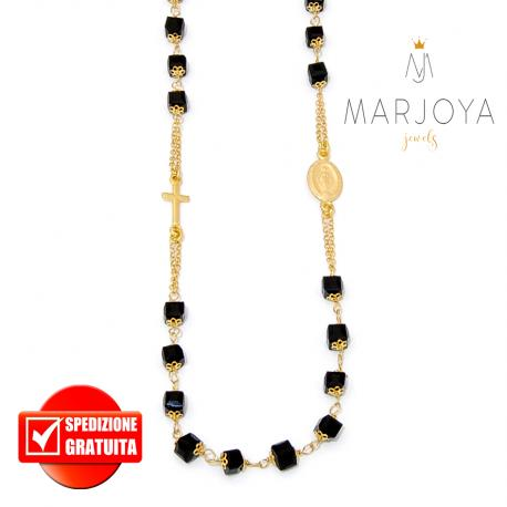 Rosario con swarovski neri in argento 925 dorato collana girocollo, cubetti