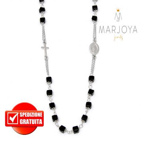 Rosario con swarovski neri in argento 925 collana girocollo, cubetti