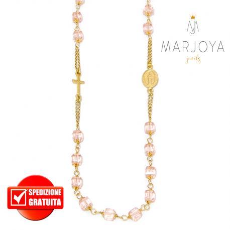 Rosario con swarovski rosa in argento 925 dorato collana girocollo