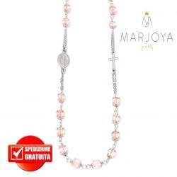 Rosario con swarovski rosa in argento 925 collana girocollo, cubetti