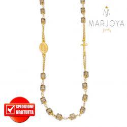 Rosario con swarovski marrone fumè in argento 925 dorato collana girocollo