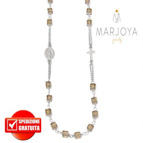 Rosario con swarovski marrone fumè in argento 925 collana girocollo