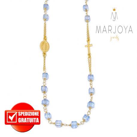 Rosario con swarovski azzurrino boreale in argento 925 dorato collana girocollo, cubetti