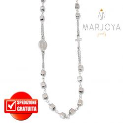 Rosario con swarovski grigio argento in argento 925 collana girocollo