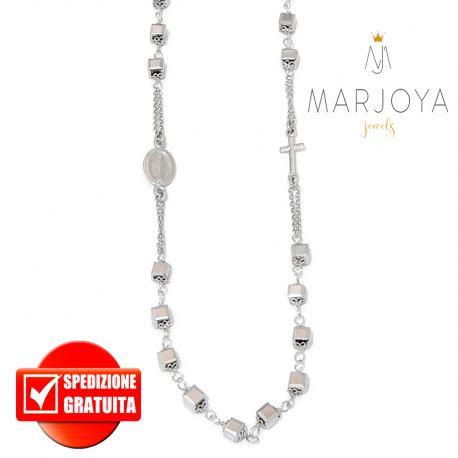 Rosario con swarovski grigio argento in argento 925 collana girocollo, cubetti