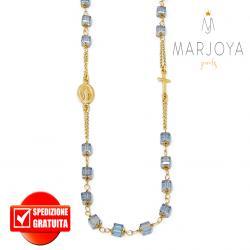 Rosario con swarovski grigio bluastro in argento 925 dorato collana girocollo