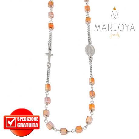 Rosario con swarovski miele bicolore boreale in argento 925 collana girocollo, cubetti