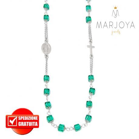 Rosario con swarovski verdi in argento 925 collana girocollo, cubetti
