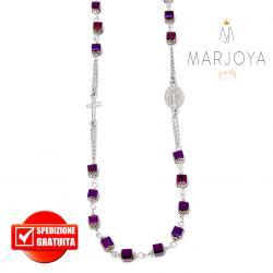 Rosario con swarovski viola metallizzato boreale in argento 925 collana girocollo, cubetti