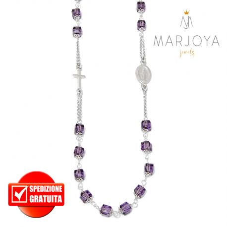 Rosario con swarovski viola in argento 925 collana girocollo, cubetti