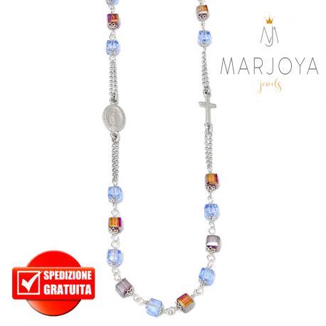 Rosario con swarovski bicolore viola e azzurrino boreale in argento 925 collana girocollo, cubetti