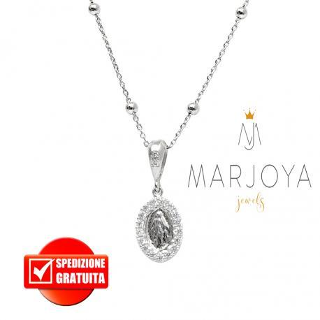 Collana con medaglia madonna miracolosa in argento 925 con zirconi