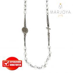 Rosario collana girocollo con swarovski bianchi trasparenti in argento 925 brunito