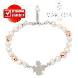 Bracciale con angelo,perle naturali ed ematite rosè in argento 925 rodiato