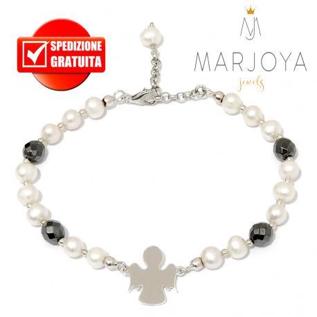 Bracciale con angelo,perle naturali ed ematite nera in argento 925 rodiato
