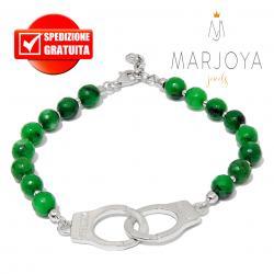 Bracciale manette con quarzo verde e argento 925 rodiato