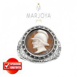 """Anello con cammeo in argento 925 brunito,regolabile,uomo,sigillo """"Gladiatore"""""""
