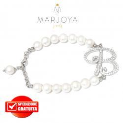 """Bracciale in argento 925 con iniziale """"B"""" e perle di fiume"""