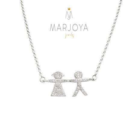 Collana con bimbo e bimba e zirconi in argento 925