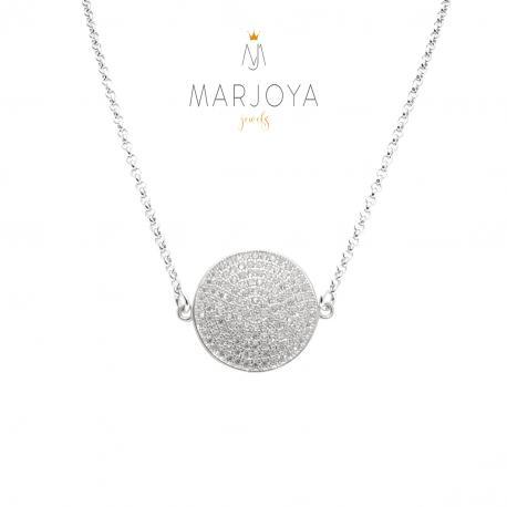 Collana con disco e pavè di zirconi in argento 925