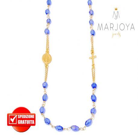 Rosario in argento 925 dorato,collana girocollo con barilotti swarovski blu elettrico boreale