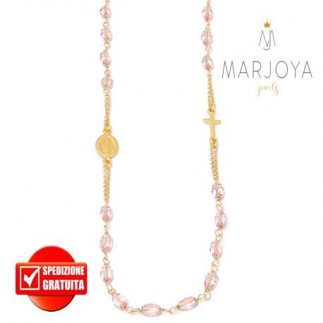 Rosario in argento 925 dorato,collana girocollo con barilotti swarovski rosa
