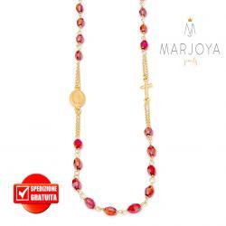 Rosario rosso rubino boreale in argento 925 dorato,collana girocollo con barilotti swarovski