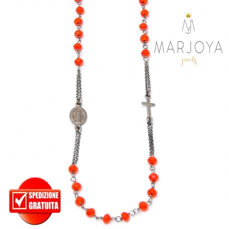 Rosario rosso in argento 925 brunito,collana girocollo con swarovski