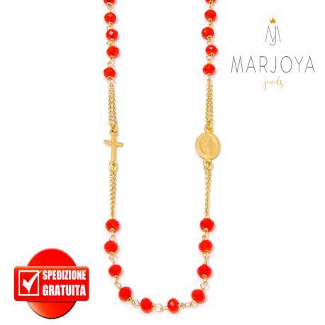 Rosario rosso in argento 925 dorato,collana girocollo con swarovski