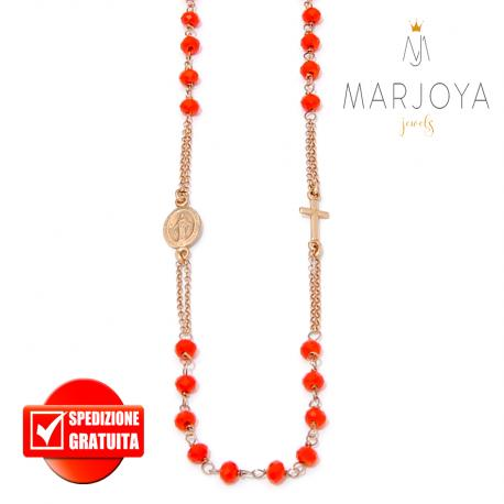 Rosario rosso in argento 925 rosè,collana girocollo con swarovski
