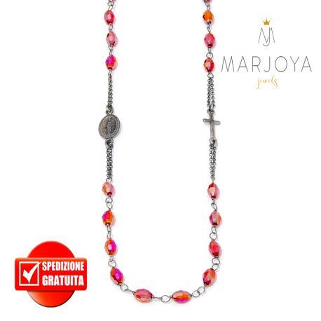 Rosario rosso rubino boreale in argento 925 brunito,collana girocollo con barilotti swarovski