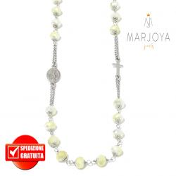 Rosario con swarovski bianchi con riflessi gialli in argento 925,collana girocollo