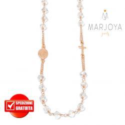 Rosario con swarovski bianco trasparente boreale in argento 925 rosè collana girocollo