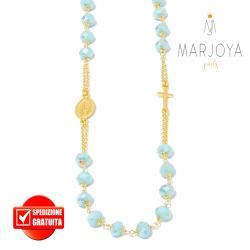 Rosario con swarovski celeste boreale in argento 925 dorato collana girocollo