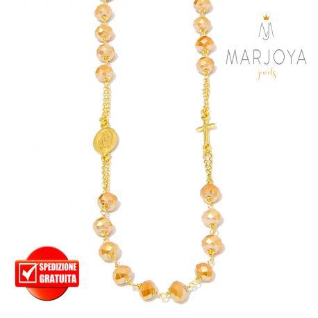 Rosario con swarovski gold boreale in argento 925 dorato collana girocollo