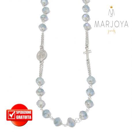 Rosario con swarovski grigio boreale in argento 925,collana girocollo