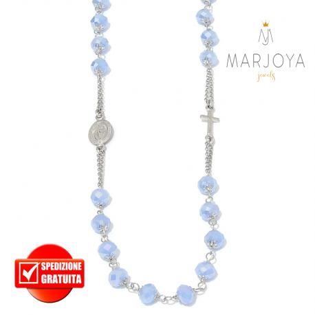 Rosario con swarovski lilla boreale in argento 925,collana girocollo