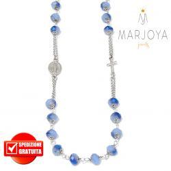 Rosario con swarovski lilla con riflessi blu in argento 925,collana girocollo