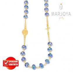 Rosario con swarovski multiriflesso blu in argento 925 dorato collana girocollo