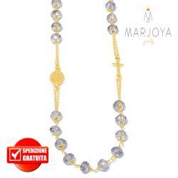 Rosario con swarovski multiriflesso viola in argento 925 dorato collana girocollo