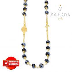Rosario con swarovski nero boreale in argento 925 dorato collana girocollo