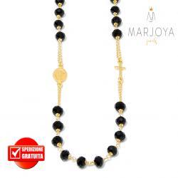Rosario con swarovski neri in argento 925 dorato collana girocollo