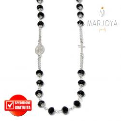 Rosario con swarovski neri in argento 925,collana girocollo