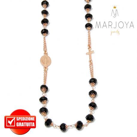 Rosario con swarovski neri in argento 925 rosè collana girocollo