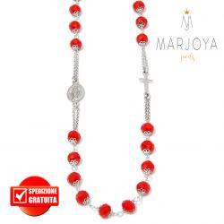 Rosario con swarovski rossi in argento 925,collana girocollo