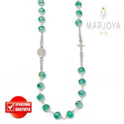 Rosario con swarovski verde boreale in argento 925,collana girocollo